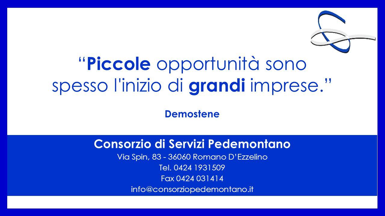 Piccole opportunità sono spesso l inizio di grandi imprese. Demostene Consorzio di Servizi Pedemontano Via Spin, 83 - 36060 Romano D'Ezzelino Tel.