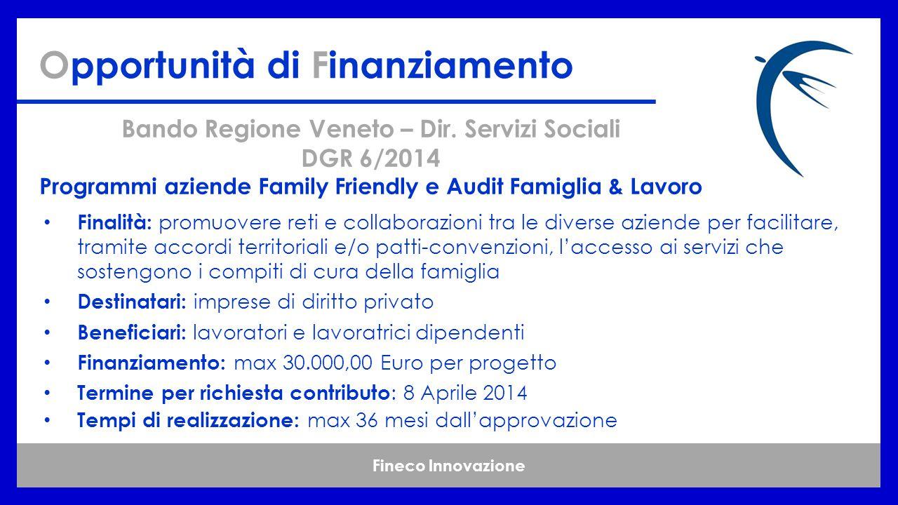 Fineco Innovazione Opportunità di Finanziamento Bando Regione Veneto – Dir.