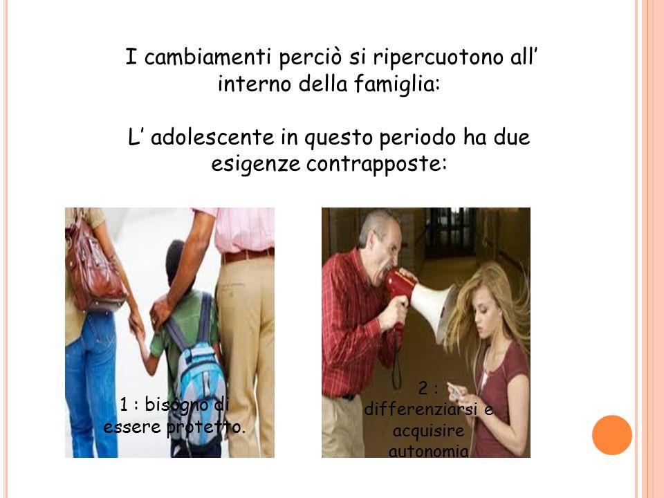 I cambiamenti perciò si ripercuotono all' interno della famiglia: L' adolescente in questo periodo ha due esigenze contrapposte: 1 : bisogno di essere
