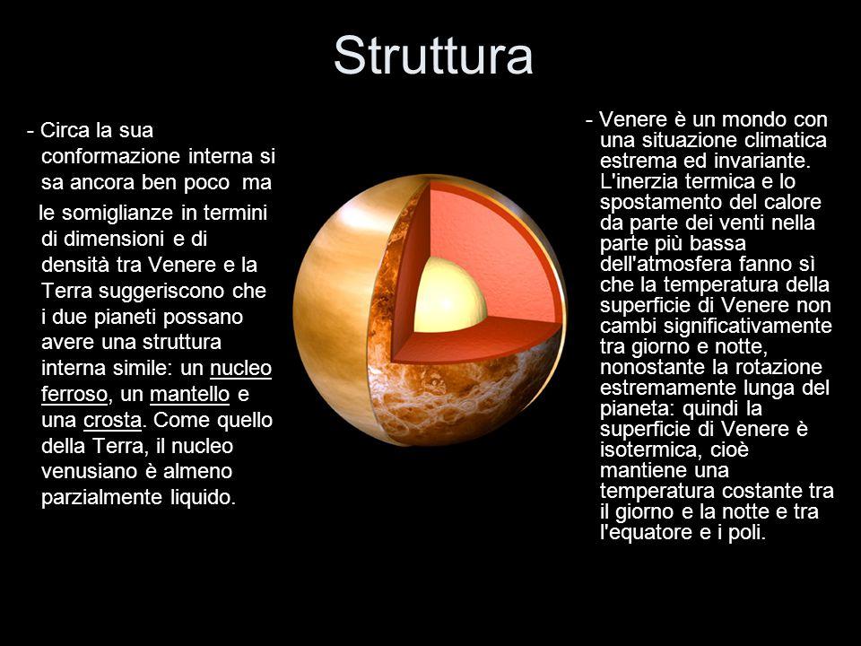 Struttura - Circa la sua conformazione interna si sa ancora ben poco ma le somiglianze in termini di dimensioni e di densità tra Venere e la Terra sug