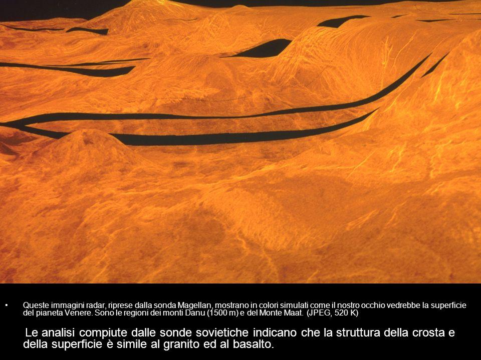 Queste immagini radar, riprese dalla sonda Magellan, mostrano in colori simulati come il nostro occhio vedrebbe la superficie del pianeta Venere. Sono