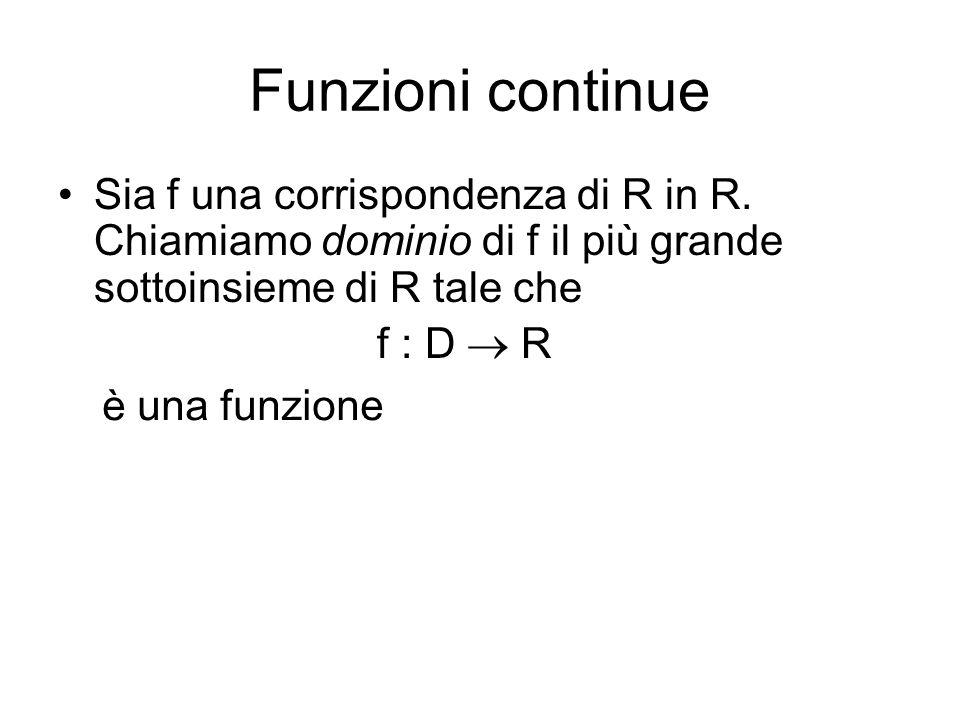 Funzioni continue Sia f una corrispondenza di R in R. Chiamiamo dominio di f il più grande sottoinsieme di R tale che f : D  R è una funzione