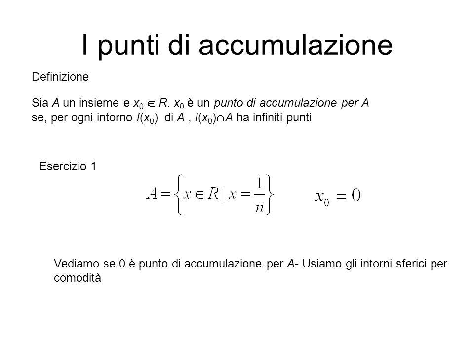 I punti di accumulazione Sia A un insieme e x 0  R. x 0 è un punto di accumulazione per A se, per ogni intorno I(x 0 ) di A, I(x 0 )  A ha infiniti