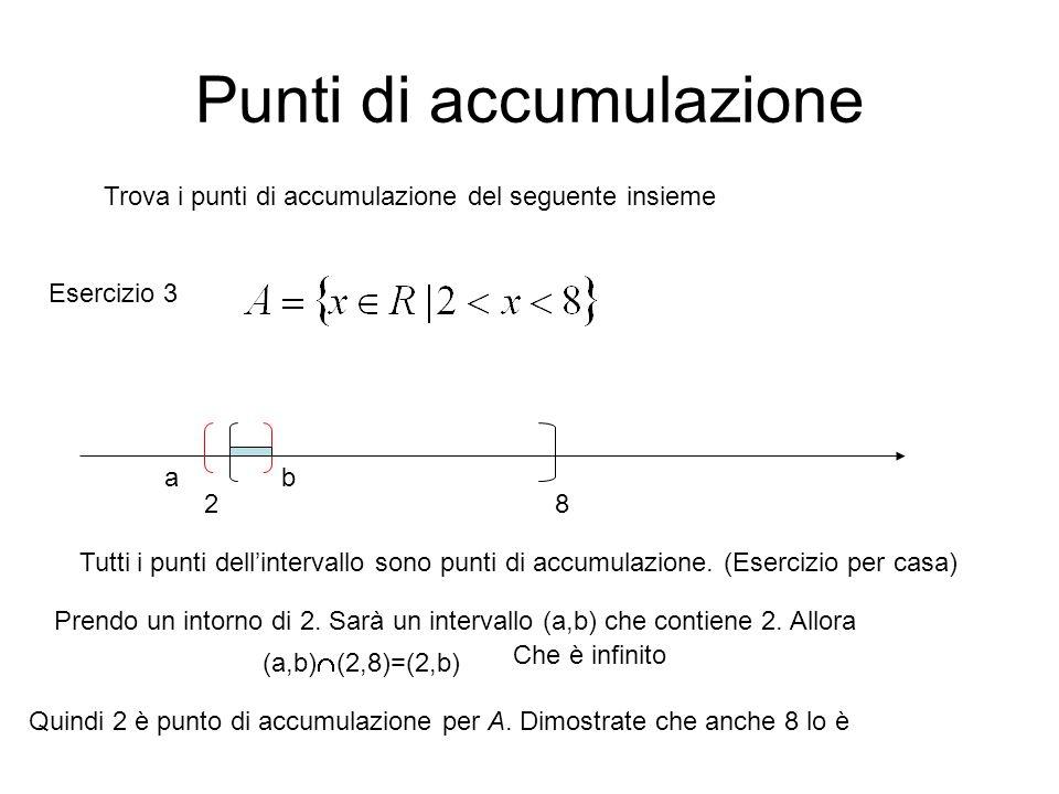 Punti di accumulazione Trova i punti di accumulazione del seguente insieme 28 Tutti i punti dell'intervallo sono punti di accumulazione. (Esercizio pe