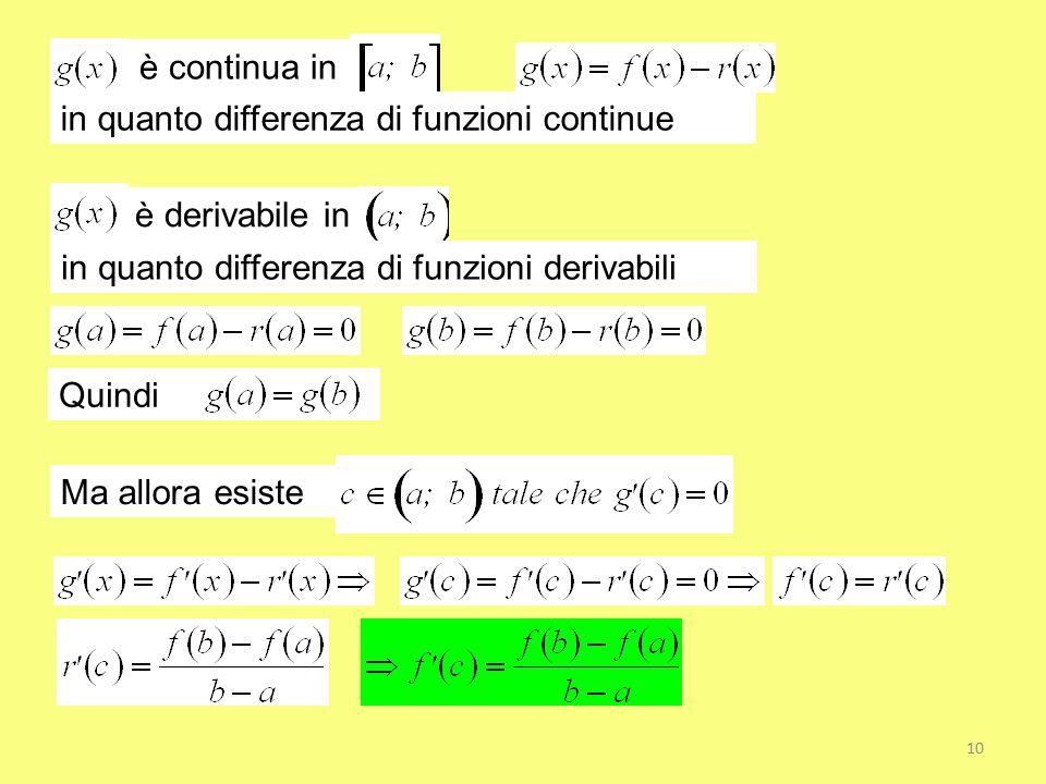 è continua in in quanto differenza di funzioni continue è derivabile in in quanto differenza di funzioni derivabili Quindi Ma allora esiste 10