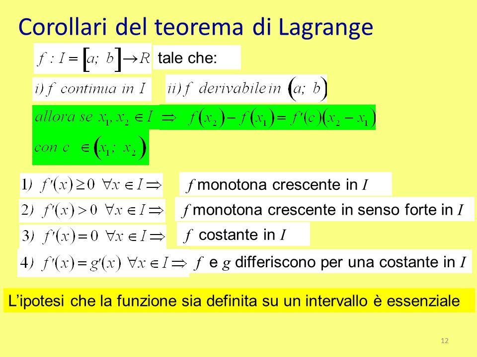 Corollari del teorema di Lagrange tale che: f monotona crescente in I f monotona crescente in senso forte in I f costante in I f e g differiscono per
