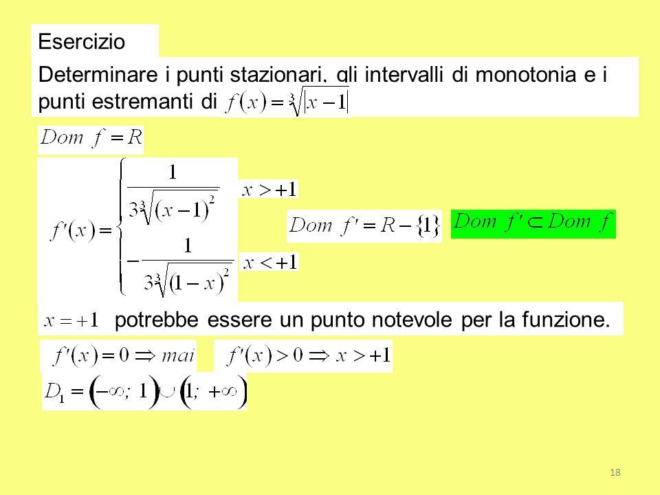 Esercizio Determinare i punti stazionari, gli intervalli di monotonia e i punti estremanti di potrebbe essere un punto notevole per la funzione. 18
