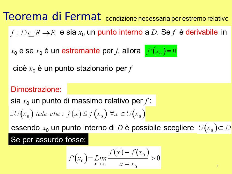 Teorema di Fermat condizione necessaria per estremo relativo e sia x 0 un punto interno a D. Se f è derivabile in x 0 e se x 0 è un estremante per f,