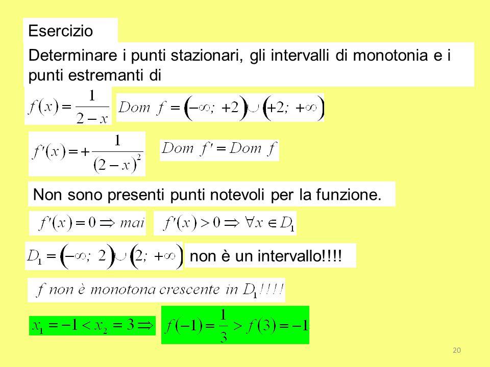 Esercizio Determinare i punti stazionari, gli intervalli di monotonia e i punti estremanti di Non sono presenti punti notevoli per la funzione. non è