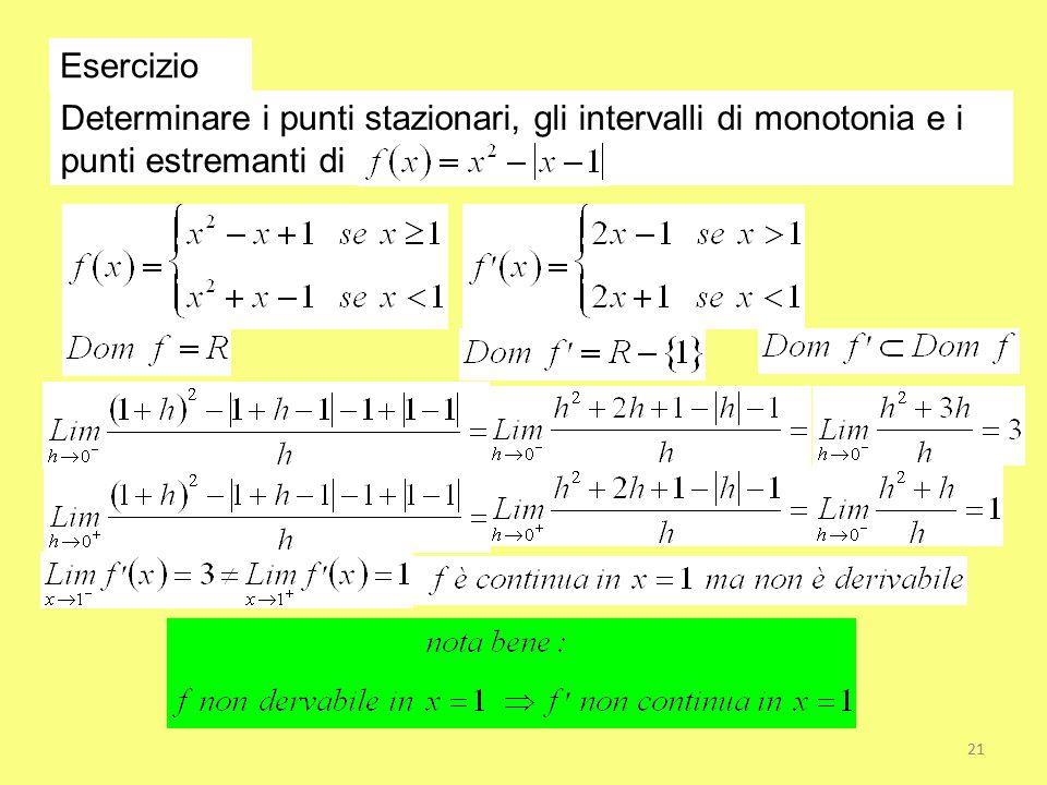 Esercizio Determinare i punti stazionari, gli intervalli di monotonia e i punti estremanti di 21