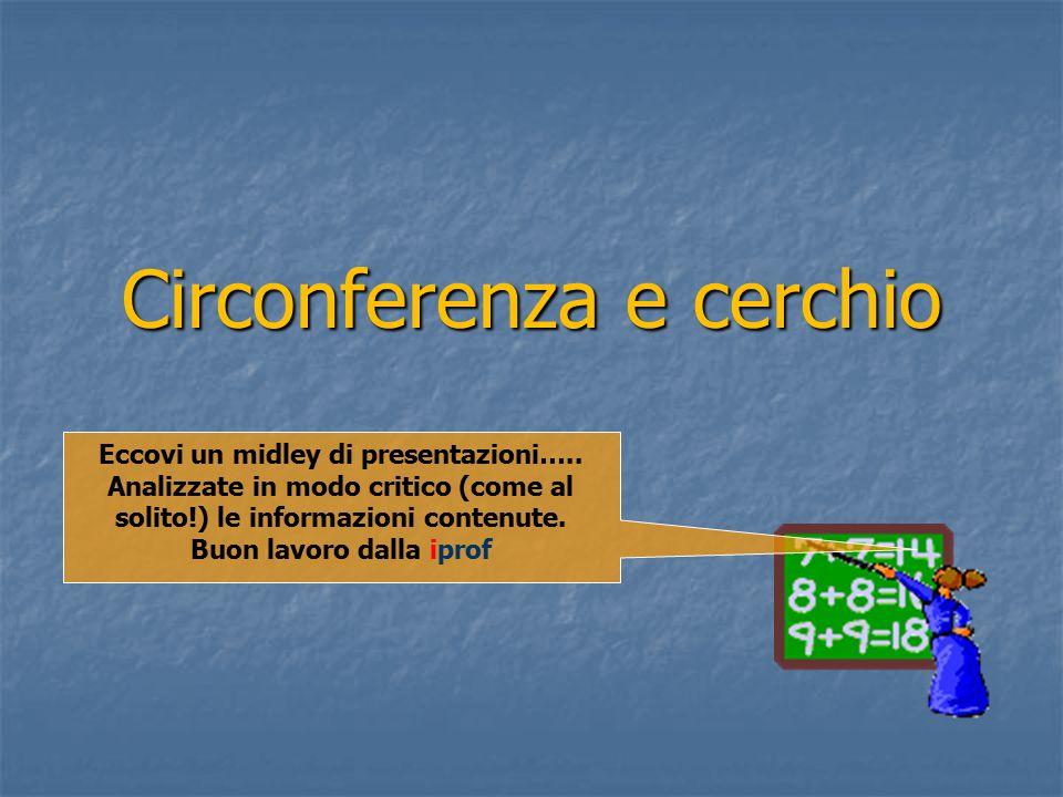 Circonferenza e cerchio Eccovi un midley di presentazioni…..