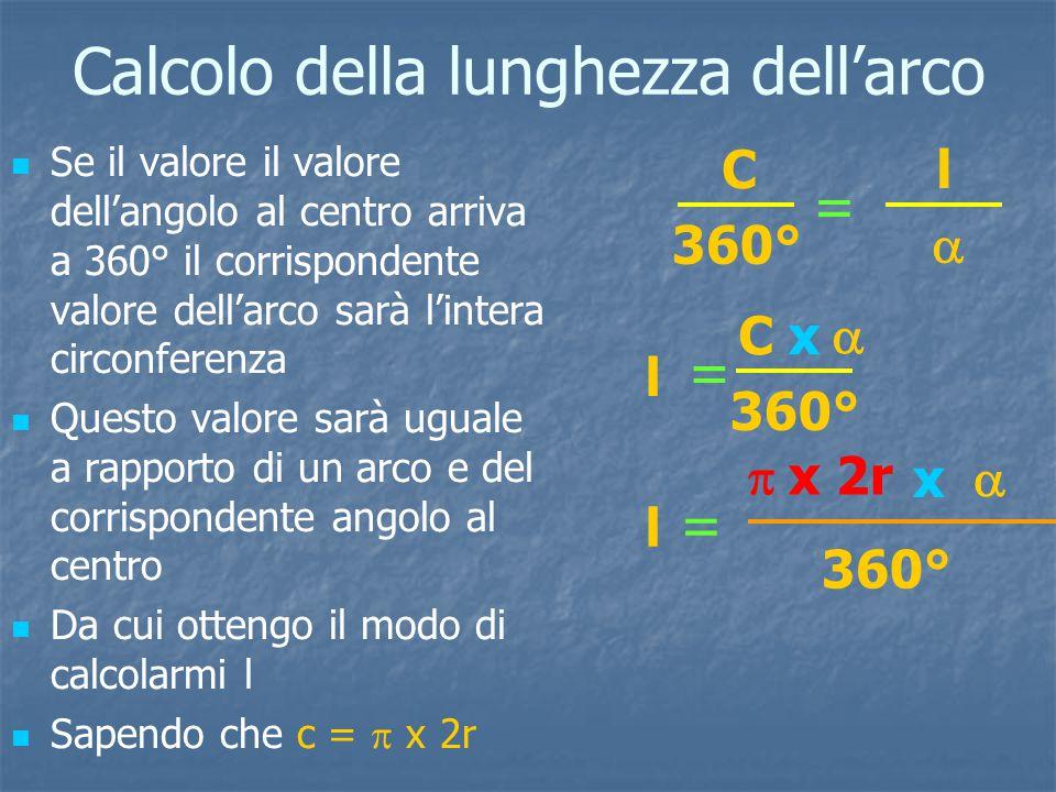 Calcolo della lunghezza dell'arco Se il valore il valore dell'angolo al centro arriva a 360° il corrispondente valore dell'arco sarà l'intera circonferenza Questo valore sarà uguale a rapporto di un arco e del corrispondente angolo al centro Da cui ottengo il modo di calcolarmi l Sapendo che c =  x 2r C 360° l  = l = C  x l =  x 2r  x 360°