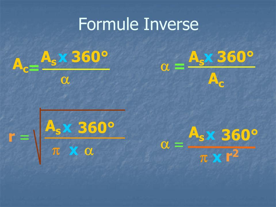 Formule Inverse = AcAc 360°  x x AsAs r =   x =  x x r2r2 =   x AsAs AcAc AsAs AsAs