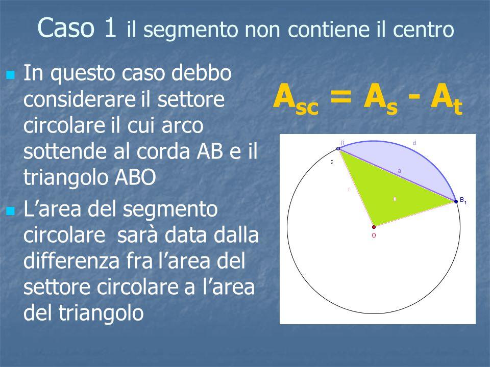 Caso 1 il segmento non contiene il centro In questo caso debbo considerare il settore circolare il cui arco sottende al corda AB e il triangolo ABO L'area del segmento circolare sarà data dalla differenza fra l'area del settore circolare a l'area del triangolo A sc = A s - A t