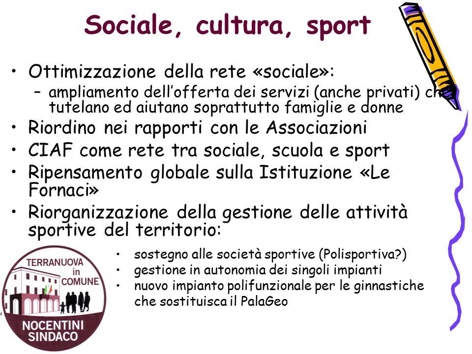 Sociale, cultura, sport Ottimizzazione della rete «sociale»: –ampliamento dell'offerta dei servizi (anche privati) che tutelano ed aiutano soprattutto