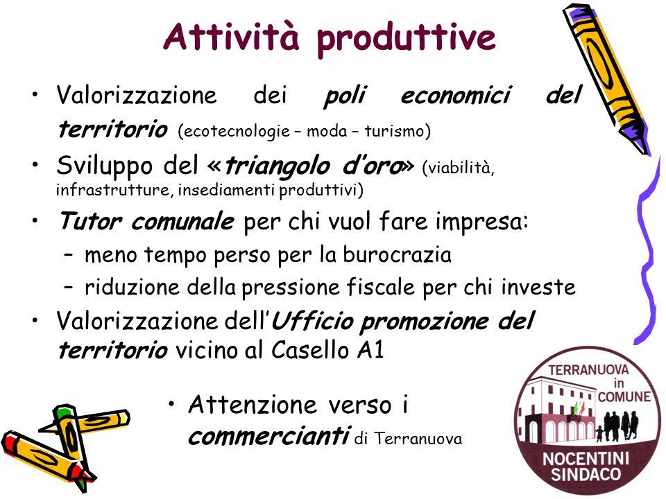 Attività produttive Valorizzazione dei poli economici del territorio (ecotecnologie – moda – turismo) Sviluppo del «triangolo d'oro» (viabilità, infra