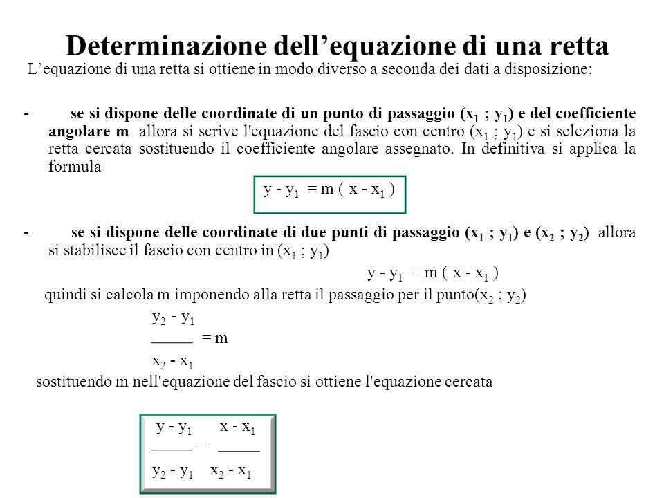 Determinazione dell'equazione di una retta L'equazione di una retta si ottiene in modo diverso a seconda dei dati a disposizione: - se si dispone dell