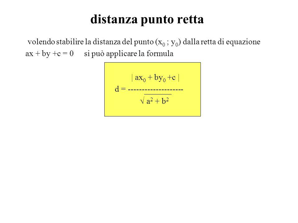 distanza punto retta volendo stabilire la distanza del punto (x 0 ; y 0 ) dalla retta di equazione ax + by +c = 0 si può applicare la formula | ax 0 +