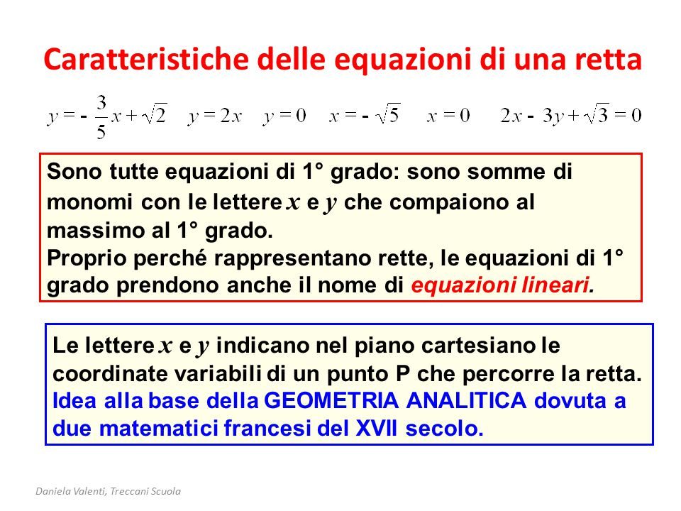 Caratteristiche delle equazioni di una retta Daniela Valenti, Treccani Scuola Sono tutte equazioni di 1° grado: sono somme di monomi con le lettere x e y che compaiono al massimo al 1° grado.
