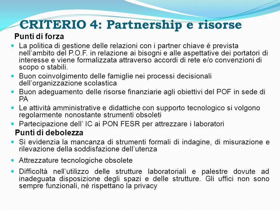 CRITERIO 4: Partnership e risorse Punti di forza La politica di gestione delle relazioni con i partner chiave è prevista nell'ambito del P.O.F. in rel