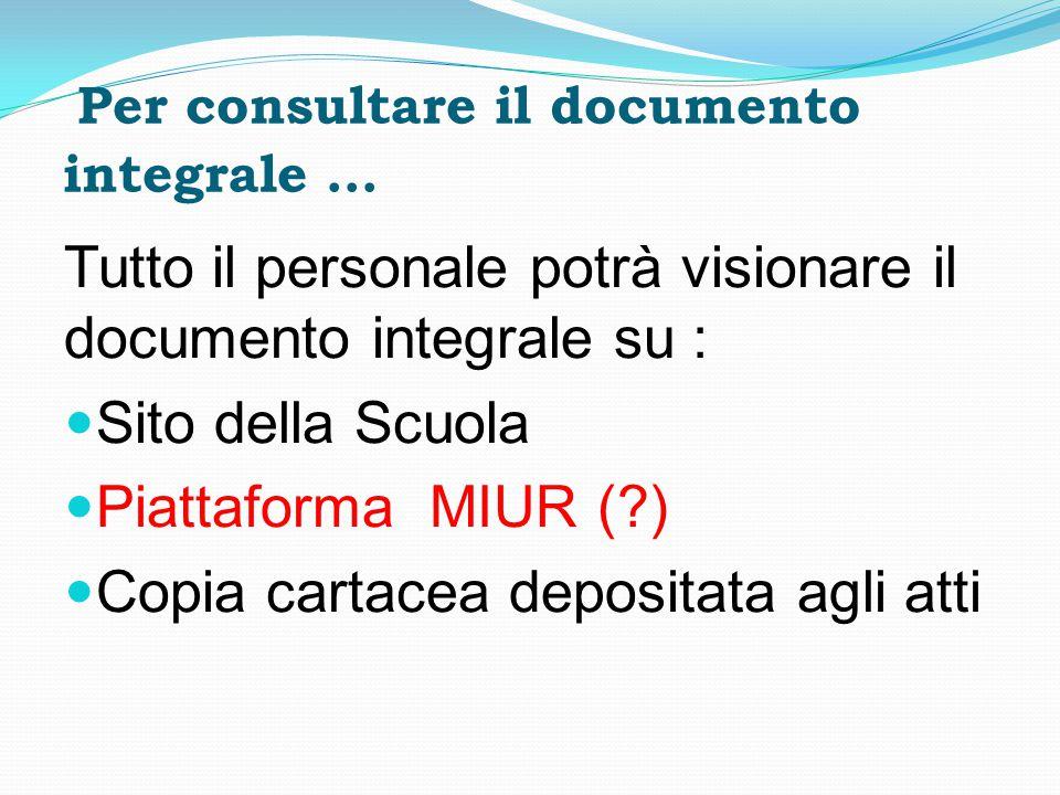 Per consultare il documento integrale … Tutto il personale potrà visionare il documento integrale su : Sito della Scuola Piattaforma MIUR (?) Copia ca