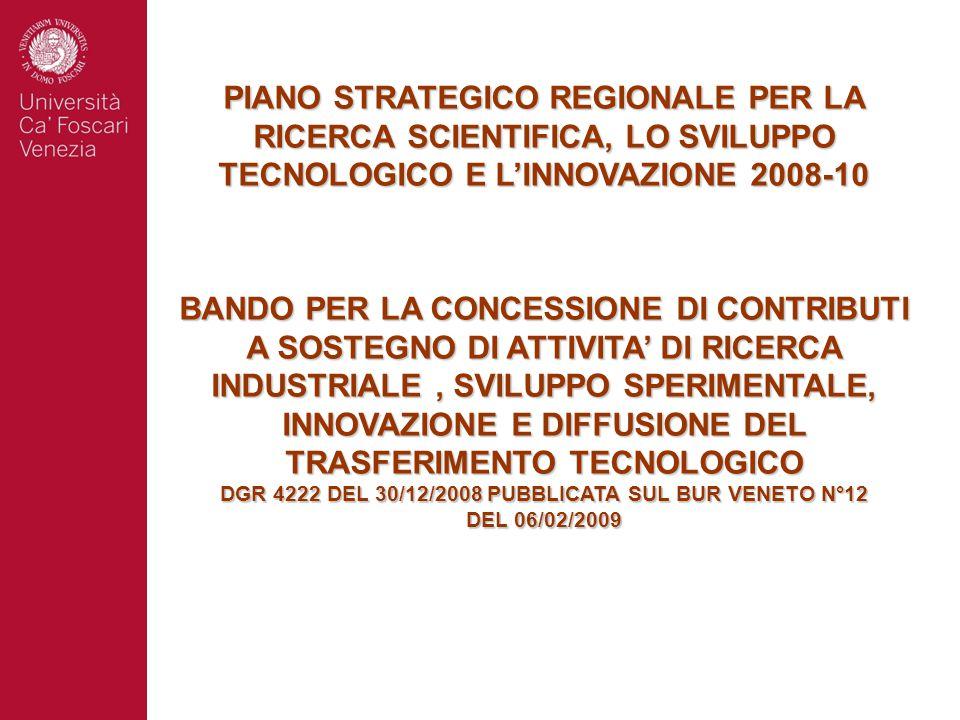 PIANO STRATEGICO REGIONALE PER LA RICERCA SCIENTIFICA, LO SVILUPPO TECNOLOGICO E L'INNOVAZIONE 2008-10 BANDO PER LA CONCESSIONE DI CONTRIBUTI A SOSTEGNO DI ATTIVITA' DI RICERCA INDUSTRIALE, SVILUPPO SPERIMENTALE, INNOVAZIONE E DIFFUSIONE DEL TRASFERIMENTO TECNOLOGICO DGR 4222 DEL 30/12/2008 PUBBLICATA SUL BUR VENETO N°12 DEL 06/02/2009