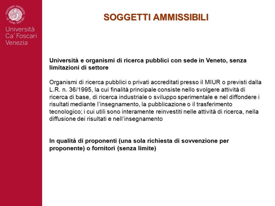 SOGGETTI AMMISSIBILI Università e organismi di ricerca pubblici con sede in Veneto, senza limitazioni di settore Organismi di ricerca pubblici o priva