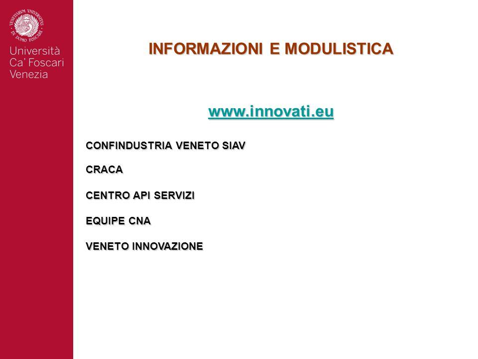 INFORMAZIONI E MODULISTICA www.innovati.eu CONFINDUSTRIA VENETO SIAV CRACA CENTRO API SERVIZI EQUIPE CNA VENETO INNOVAZIONE