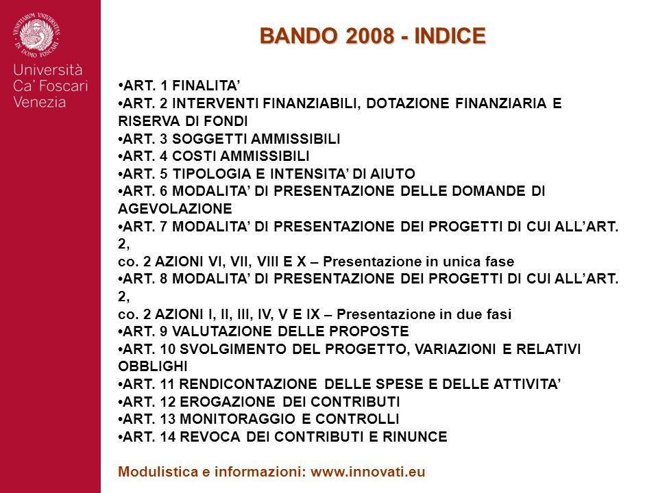 BANDO 2008 - INDICE ART. 1 FINALITA' ART. 2 INTERVENTI FINANZIABILI, DOTAZIONE FINANZIARIA E RISERVA DI FONDI ART. 3 SOGGETTI AMMISSIBILI ART. 4 COSTI