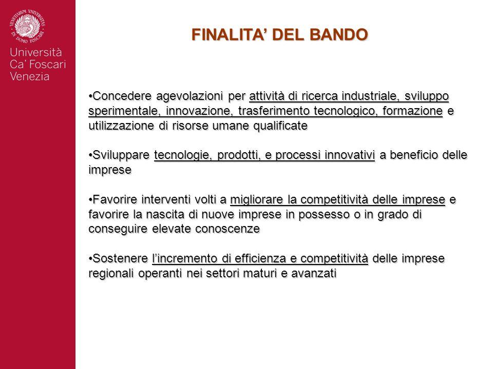 FINALITA' DEL BANDO Concedere agevolazioni per attività di ricerca industriale, sviluppo sperimentale, innovazione, trasferimento tecnologico, formazi