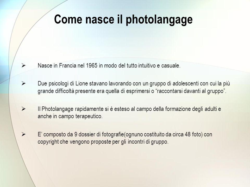 Come nasce il photolangage  Nasce in Francia nel 1965 in modo del tutto intuitivo e casuale.  Due psicologi di Lione stavano lavorando con un gruppo