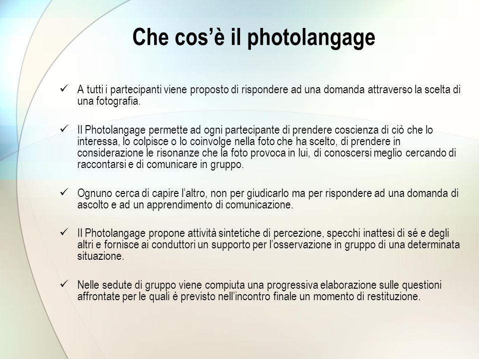 Che cos'è il photolangage A tutti i partecipanti viene proposto di rispondere ad una domanda attraverso la scelta di una fotografia. Il Photolangage p
