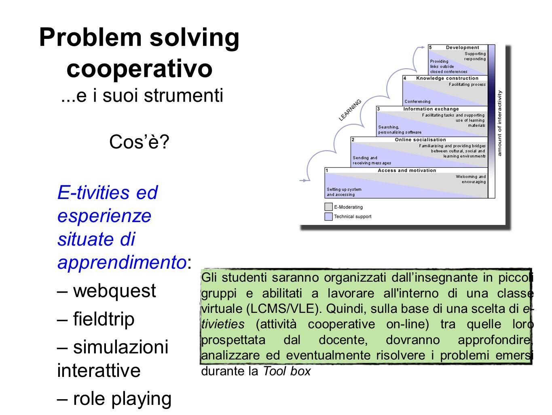 Problem solving cooperativo...e i suoi strumenti Cos'è? E-tivities ed esperienze situate di apprendimento: – webquest – fieldtrip – simulazioni intera