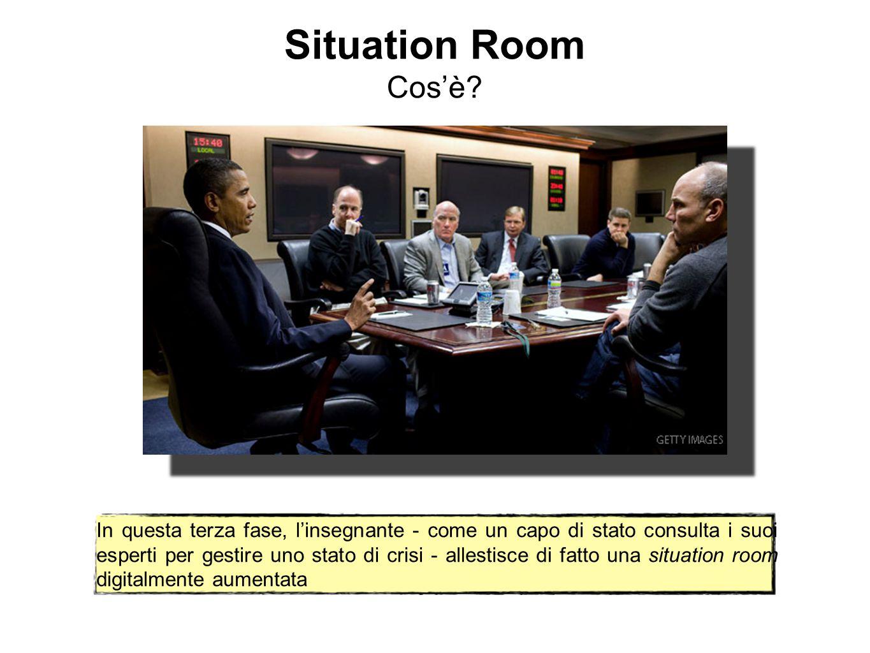Situation Room Cos'è? In questa terza fase, l'insegnante - come un capo di stato consulta i suoi esperti per gestire uno stato di crisi - allestisce d