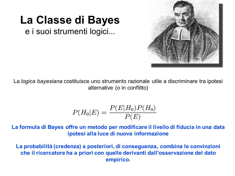 La Classe di Bayes e i suoi strumenti logici... La logica bayesiana costituisce uno strumento razionale utile a discriminare tra ipotesi alternative (