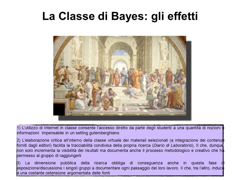 La Classe di Bayes: gli effetti 1) L'utilizzo di Internet in classe consente l'accesso diretto da parte degli studenti a una quantità di nozioni e inf