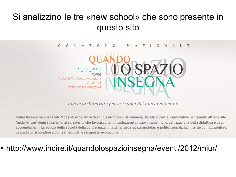 Si analizzino le tre «new school» che sono presente in questo sito http://www.indire.it/quandolospazioinsegna/eventi/2012/miur/