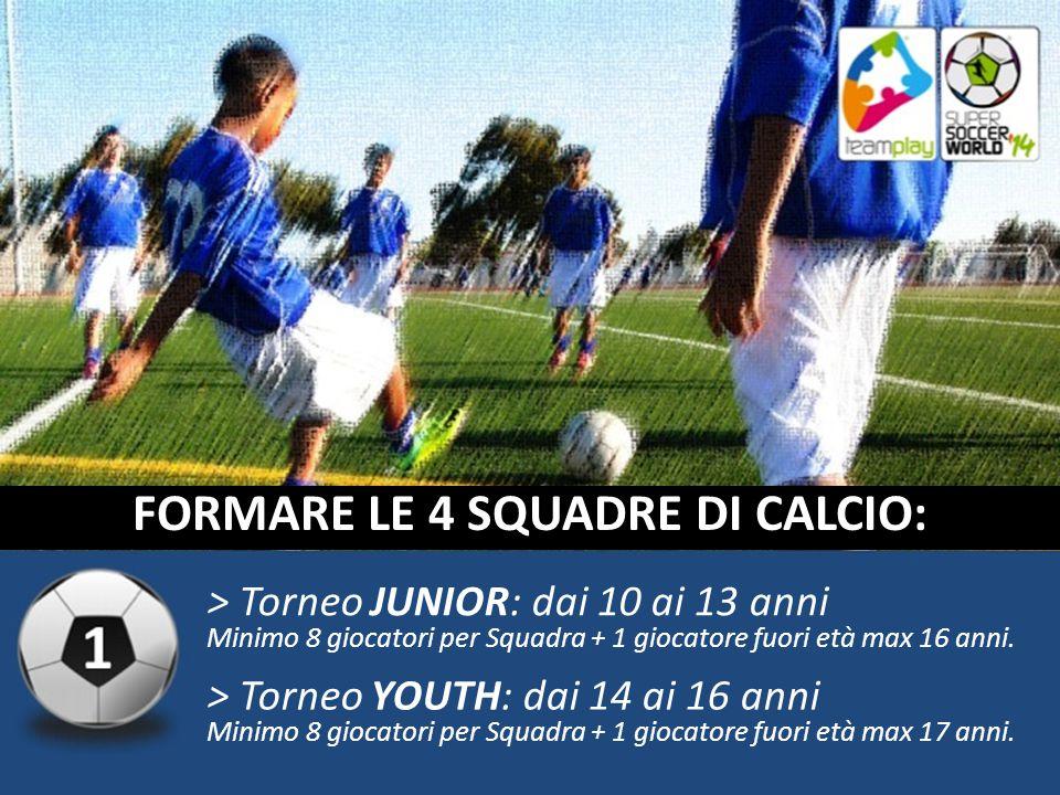 > Torneo JUNIOR: dai 10 ai 13 anni Minimo 8 giocatori per Squadra + 1 giocatore fuori età max 16 anni.
