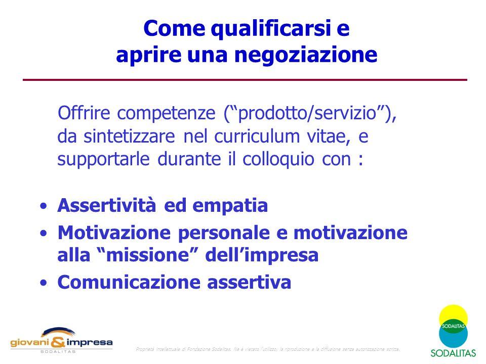 """Come qualificarsi e aprire una negoziazione Offrire competenze (""""prodotto/servizio""""), da sintetizzare nel curriculum vitae, e supportarle durante il c"""