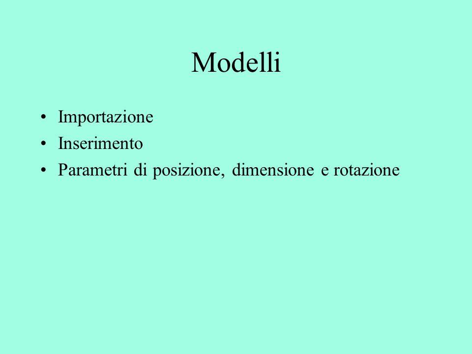 Modelli Importazione Inserimento Parametri di posizione, dimensione e rotazione
