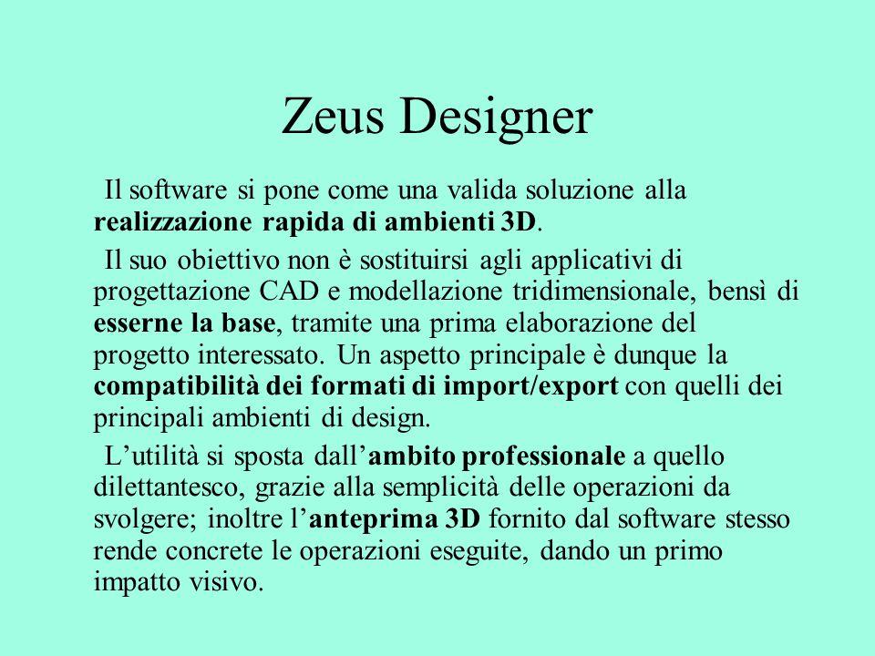 Zeus Designer Il software si pone come una valida soluzione alla realizzazione rapida di ambienti 3D.