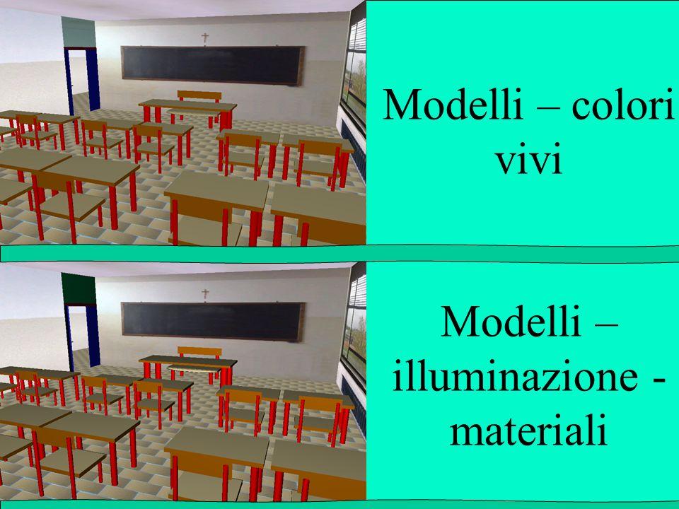Modelli – colori vivi Modelli – illuminazione - materiali