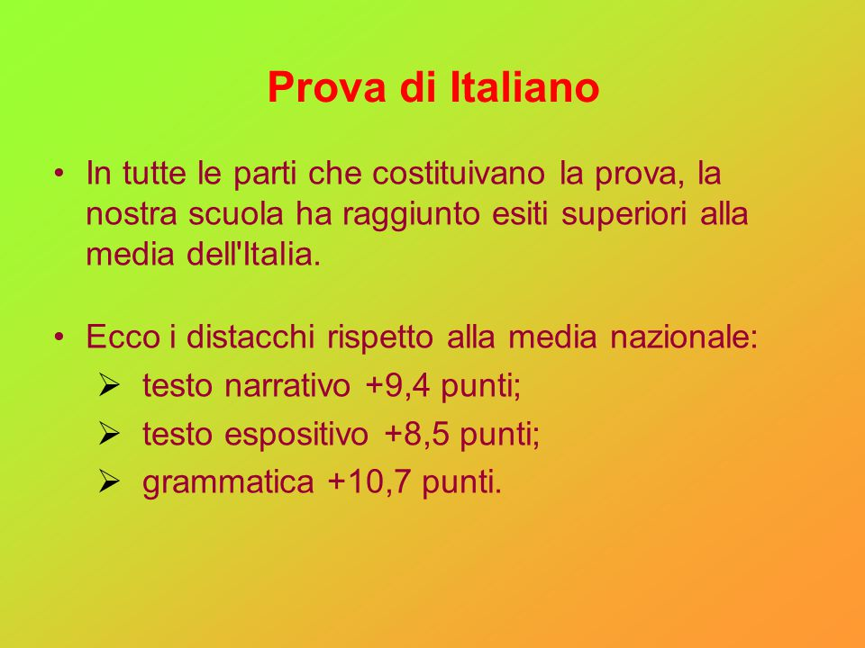 Prova di Italiano In tutte le parti che costituivano la prova, la nostra scuola ha raggiunto esiti superiori alla media dell'Italia. Ecco i distacchi
