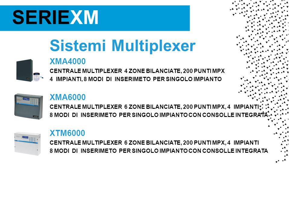 Sistemi Multiplexer XMA4000 CENTRALE MULTIPLEXER 4 ZONE BILANCIATE, 200 PUNTI MPX 4 IMPIANTI, 8 MODI DI INSERIMETO PER SINGOLO IMPIANTO XMA6000 CENTRALE MULTIPLEXER 6 ZONE BILANCIATE, 200 PUNTI MPX, 4 IMPIANTI 8 MODI DI INSERIMETO PER SINGOLO IMPIANTO CON CONSOLLE INTEGRATA XTM6000 CENTRALE MULTIPLEXER 6 ZONE BILANCIATE, 200 PUNTI MPX, 4 IMPIANTI 8 MODI DI INSERIMETO PER SINGOLO IMPIANTO CON CONSOLLE INTEGRATA SERIEXM