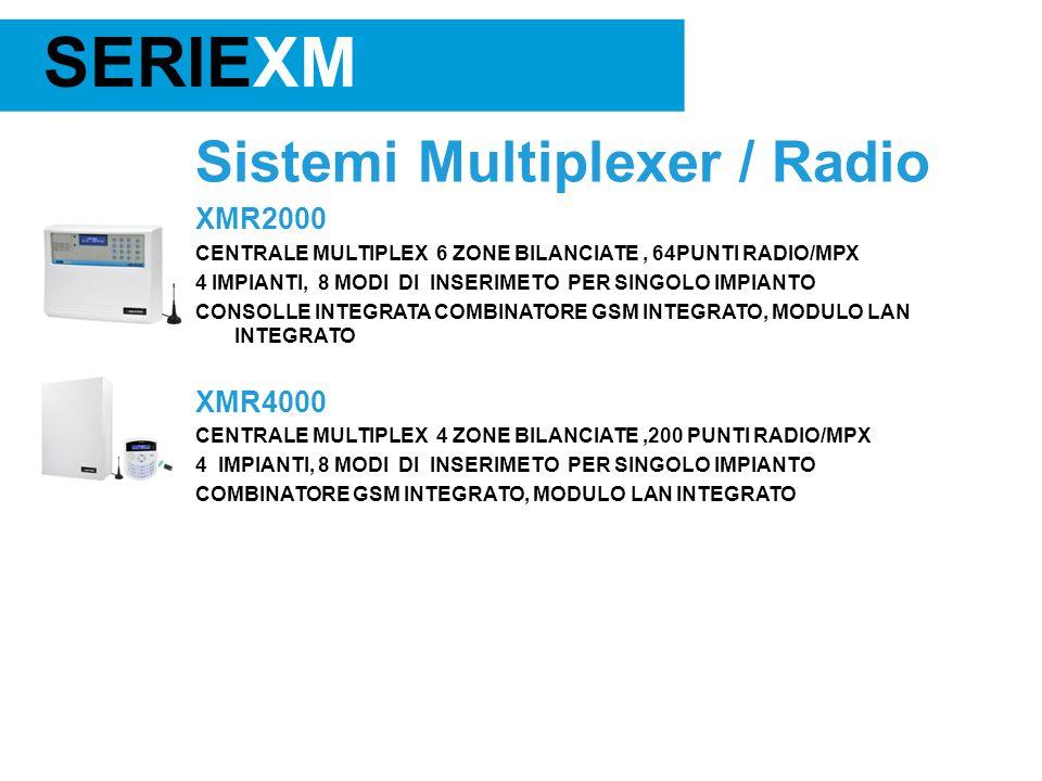 Sistemi Multiplexer / Radio XMR2000 CENTRALE MULTIPLEX 6 ZONE BILANCIATE, 64PUNTI RADIO/MPX 4 IMPIANTI, 8 MODI DI INSERIMETO PER SINGOLO IMPIANTO CONSOLLE INTEGRATA COMBINATORE GSM INTEGRATO, MODULO LAN INTEGRATO XMR4000 CENTRALE MULTIPLEX 4 ZONE BILANCIATE,200 PUNTI RADIO/MPX 4 IMPIANTI, 8 MODI DI INSERIMETO PER SINGOLO IMPIANTO COMBINATORE GSM INTEGRATO, MODULO LAN INTEGRATO SERIEXM