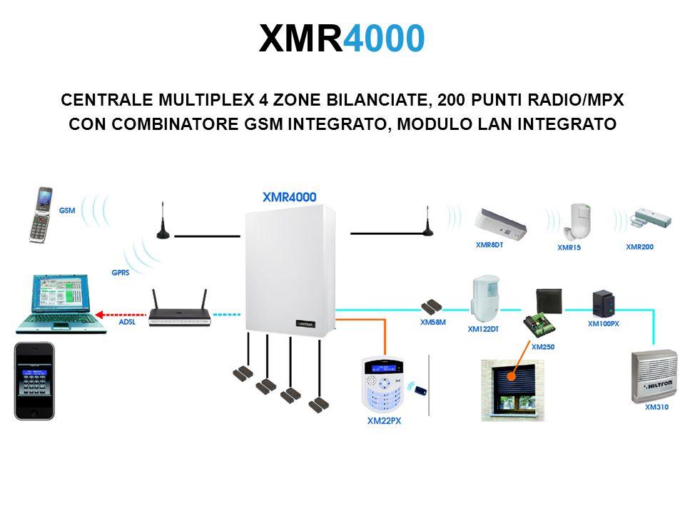 XMR4000 CENTRALE MULTIPLEX 4 ZONE BILANCIATE, 200 PUNTI RADIO/MPX CON COMBINATORE GSM INTEGRATO, MODULO LAN INTEGRATO