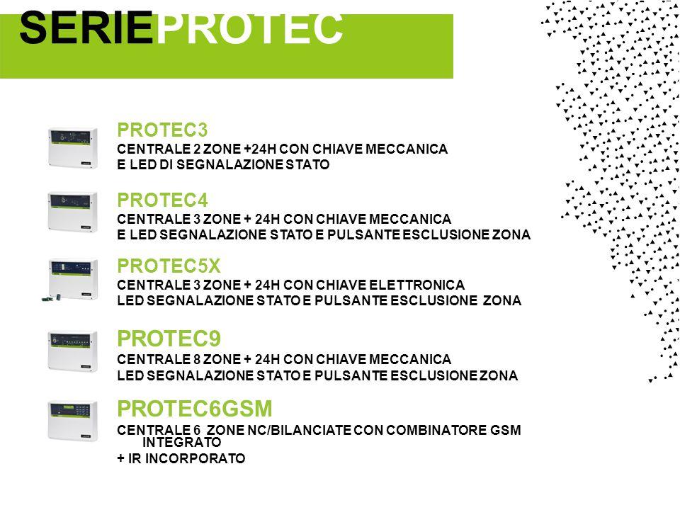 PROTEC3 CENTRALE 2 ZONE +24H CON CHIAVE MECCANICA E LED DI SEGNALAZIONE STATO PROTEC4 CENTRALE 3 ZONE + 24H CON CHIAVE MECCANICA E LED SEGNALAZIONE STATO E PULSANTE ESCLUSIONE ZONA PROTEC5X CENTRALE 3 ZONE + 24H CON CHIAVE ELETTRONICA LED SEGNALAZIONE STATO E PULSANTE ESCLUSIONE ZONA PROTEC9 CENTRALE 8 ZONE + 24H CON CHIAVE MECCANICA LED SEGNALAZIONE STATO E PULSANTE ESCLUSIONE ZONA PROTEC6GSM CENTRALE 6 ZONE NC/BILANCIATE CON COMBINATORE GSM INTEGRATO + IR INCORPORATO SERIEPROTEC