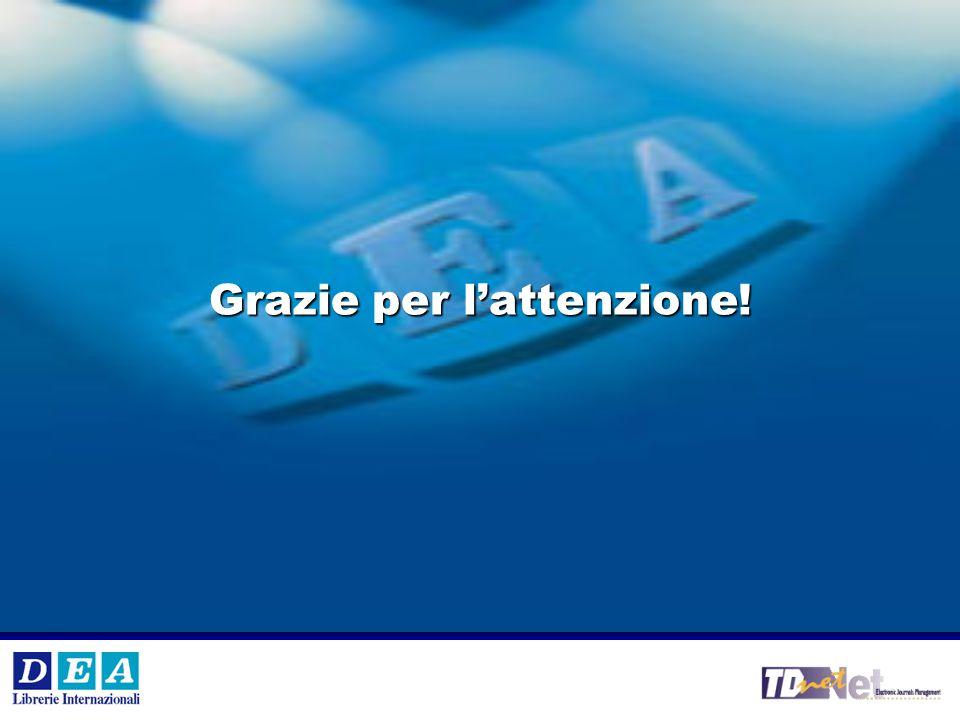 V °e VI° Workshop Internazionale DEA SpA 19 Grazie per l'attenzione!