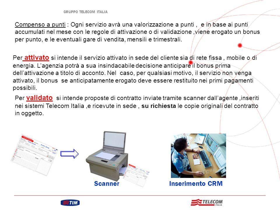 GRUPPO TELECOM ITALIA Scanner Inserimento CRM Autorizzazzione Invio in sede PDA Ricezione Busta con PDA Reception Comunicazione di non corretta copilazione