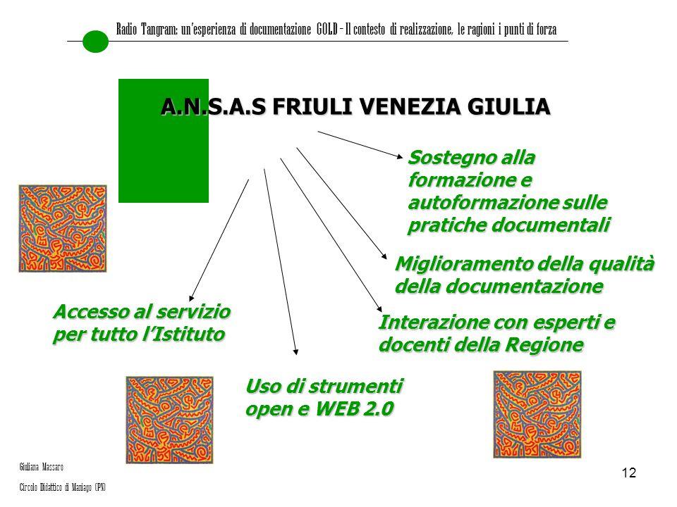 12 A.N.S.A.S FRIULI VENEZIA GIULIA Sostegno alla formazione e autoformazione sulle pratiche documentali Miglioramento della qualità della documentazio